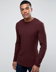 Asos Extreme Muscle Long Sleeve T Shirt In Chunky Rib In Burgundy With Curved Hem Red