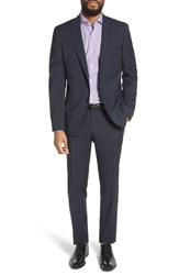 Boss Ryan Win Extra Trim Fit Windowpane Wool Suit Blue