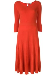 N.Peal Midi Ribbed Knitted Dress Orange