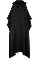 Christopher Kane Oversized Beaded Satin Maxi Dress Black