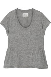 Current Elliott The Girlie Jersey Peplum T Shirt Gray