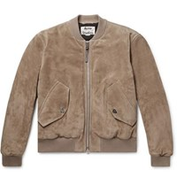Acne Studios Faux Leather And Cotton Corduroy Trimmed Suede Bomber Jacket Beige