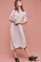 Anthropologie Yarn Dyed Pleated Tunic Neutral Motif