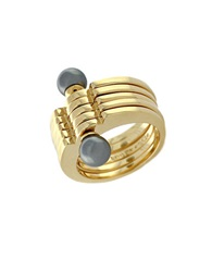Louise Et Cie Glass Pearl Stacked Ring Gold