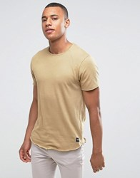 Solid T Shirt In Curved Hem With Raglan Sleeve Beige