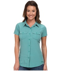 The North Face Short Sleeve Taggart Woven Shirt Teal Blue Heather Women's Short Sleeve Button Up