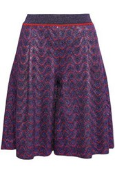 Missoni Woman Metallic Crochet Knit Shorts Purple