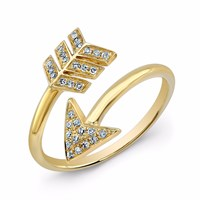 Anne Sisteron Yellow Gold Diamond Wrap Around Arrow Ring Yellow Orange