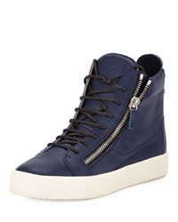 Giuseppe Zanotti Men's Leather High Top Sneaker Blue