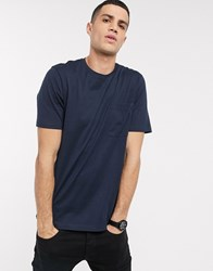 Selected Homme Organic Cotton Oversized One Pocket T Shirt In Navy