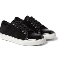 Lanvin Cap Toe Suede And Patent Leather Sneakers Black