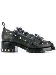N 21 No21 Buckled Chunky Lace Up Shoes Women Leather Rubber 40 Black