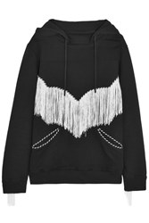 House Of Holland Fringed Cotton Jersey Hooded Top Black