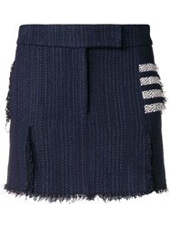 Thom Browne 4 Bar Tweed Mini Sack Skirt Blue