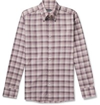 Tom Ford Slim Fit Button Down Collar Checked Cotton Shirt Pink