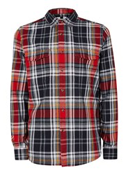 Topman Men's Long Sleeve Checked Shirt Red