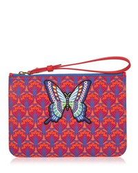 Liberty London Multi Butterfly Patch Wristlet Bag Red