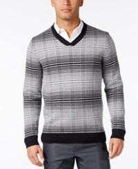 Alfani Men's V Neck Pattern Sweater Only At Macy's Medium Grey Combo