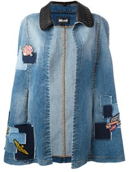 Just Cavalli Denim Patchwork Cape Blue