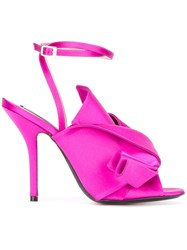 N 21 No21 Knotted Satin Sandals Pink Purple