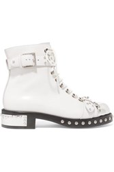 Alexander Mcqueen Hobnail Studded Leather Ankle Boots White