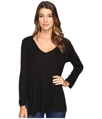 Michael Stars Slub Long Sleeve V Neck W Side Slit Black Women's Clothing