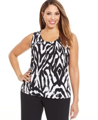 Kasper Plus Size Animal Print Pleated Top Black White