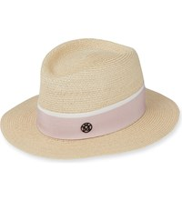 Maison Michel Andre Natural Hemp Straw Hat Natural Pink