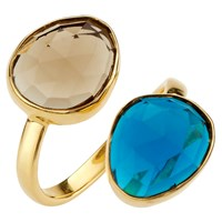John Lewis Gemstones Double Semi Precious Stone Ring Blue Topaz Smoky Quartz
