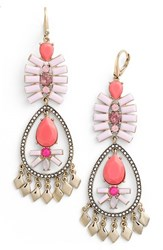 Women's Kent And King Crystal Chandelier Earrings Pink Gold