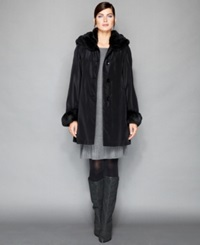 The Fur Vault Sheared Rabbit Fur Lined Coat Black
