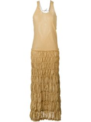 Romeo Gigli Vintage Ruched Maxi Dress Brown