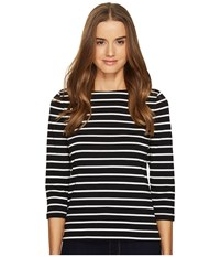 Kate Spade Broome Street 3 4 Sleeve Stripe Essential Tee Black Off White Women's T Shirt Multi