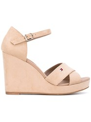 Tommy Hilfiger Wedge Buckled Sandals Women Cotton Leather Polyester Rubber 37 Nude Neutrals