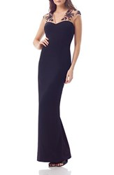 Js Collections Women's Illusion Gown Navy
