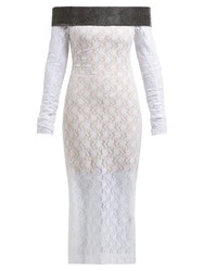 Christopher Kane Crystal Embellished Chantilly Lace Midi Dress White