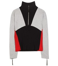 Marni Sporty Zip Cotton Blend Sweater Grey