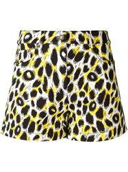 Moschino Leopard Print Shorts Yellow