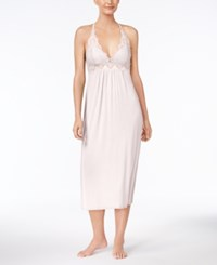 Thalia Sodi Lace Trimmed Knit Nightgown Created For Macy's Dark Pink