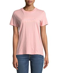 7 For All Mankind Embroidered Crewneck Short Sleeve Tee Pink