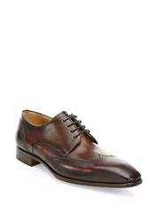 Saks Fifth Avenue Collection By Magnanni Laser Cut Lace Up Dress Shoes Tobacco