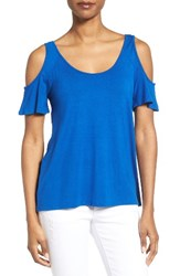 Kut From The Kloth Women's Yoselin Cold Shoulder Top Royal Blue