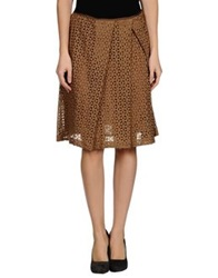 Soho De Luxe Knee Length Skirts Brown