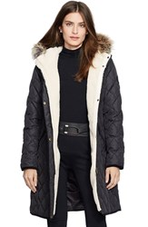 Petite Women's Lauren Ralph Lauren Faux Fur Trim Down And Feather Fill Parka