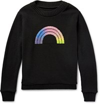 The Elder Statesman Rainbow Intarsia Cashmere Sweater Black