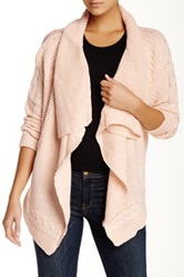Woven Heart Cable Cascade Cardigan Pink
