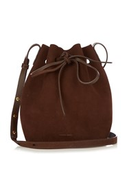 Mansur Gavriel Brown Lined Mini Suede Bucket Bag Dark Brown