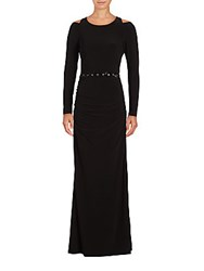 Laundry By Shelli Segal Matte Cold Shoulder Gown Black