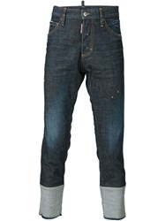 Dsquared2 Folded Cuff Style Jeans Blue