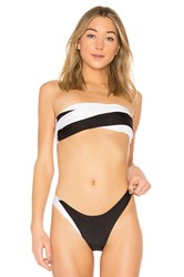 Baja East Wrap Bikini Top Black And White